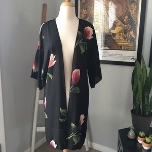 Ready to bloom sheer floral print open kimono